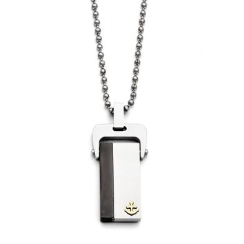 Anchor Dog Tag 20-Inch Necklace in Black and Gold Tone Stainless Steel