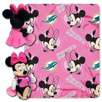 Minnie Mouse Cheerleader Miami Dolphins NFL Throw and Hugger Pillow Set