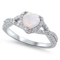 Sterling Silver CZ Lab White Opal and Simulated Diamond Heart Halo Ring 8MM