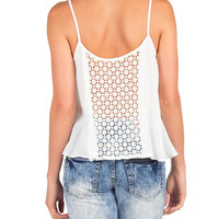 Detailed Crochet Back Simple Tank - White - Large