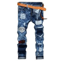 Blue Biker Stylish Patchwork Holes Stone Washed Ripped Jeans for Men