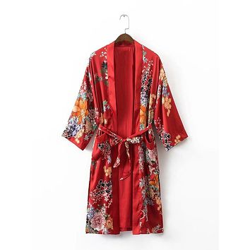 women vintage red floral kimono long coat open stitch sashes pockets split outerwear ladies casual fashion tops
