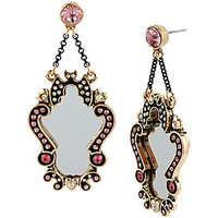A AND D MIRROR DROP EARRING: Betsey Johnson