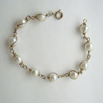 Pearls in a Cage Bracelet Wire Wrapped Atomic Style Wedding Jewelry