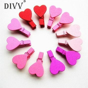 Zero 12Pcs Mini Heart Love Wooden Clothes Photo Paper Peg Pin Clothespin Craft Clips