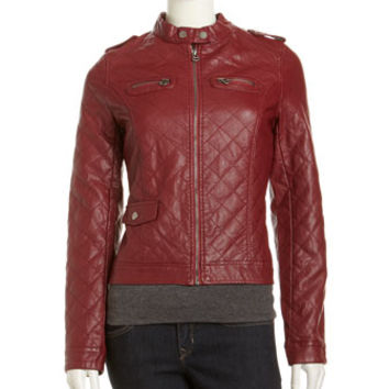 Quilted Faux-Leather Moto Jacket, Red Wine