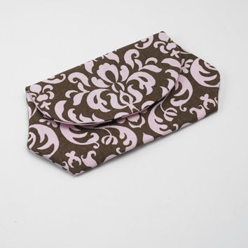 Cell Phone Wallet, iPhone / iPod / Camera Pouch, Snap Clutch Purse in Pink and Brown Damask