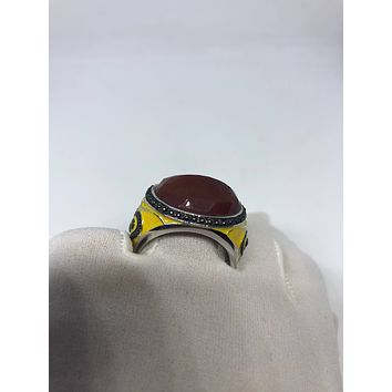 Vintage Genuine Red Carnelian 925 Sterling Silver Yellow Enamel Statement Ring