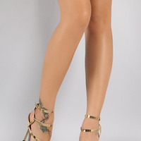 Qupid Metallic Strappy Open Toe Stiletto Heel