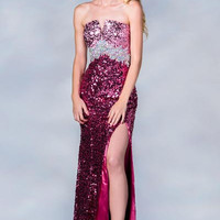 PRIMA C137669 Full Sequin Blue or Pink Prom Dress