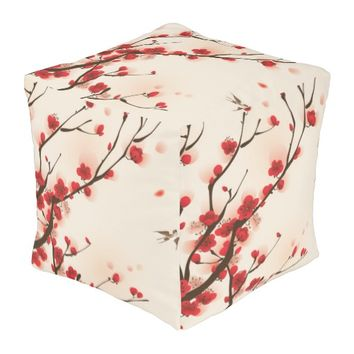 Oriental Style Painting Plum Blossom in Spring L Pouf
