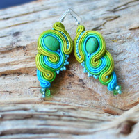 Very long colourful soutache earrings. Blue green and sea blue jewelry. Sunny summer earring. Boho colours. One Of A Kind (OOAK) Hippie.