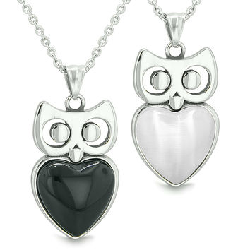 Amulets Owl Cute Hearts Love Couples Set Simulated Black Onyx White Cats Eye Pendant Necklaces
