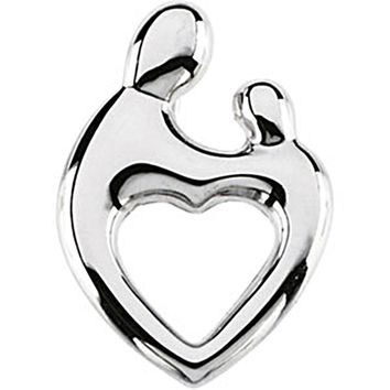 14kt White Gold Mother and Child Heart Pendant by Janel Russell
