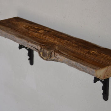 Shabby chic  barn wood wall shelf 28.75 x 8 x 9 with large knot accent