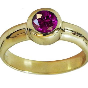 Solitaire Amethyst Ring Halo Ring Engagement Ring Bezel set Purple Genuine Gemstone  in 14K Yellow gold February Birthstone