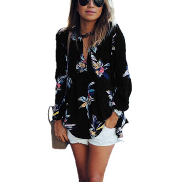 Plus Size Blusas Women Floral Printing Blouse Spring Autumn Style Ladies Long Sleeve V neck Loose Shirts Sexy Top S-3XL