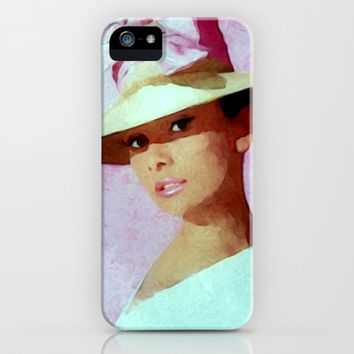 Audrey Hepburn Watercolour Portrait with hat iPhone & iPod Case by Brian Raggatt