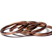 Stacking Rings, Copper Rings, Hammered Textured Rings, Set of 4