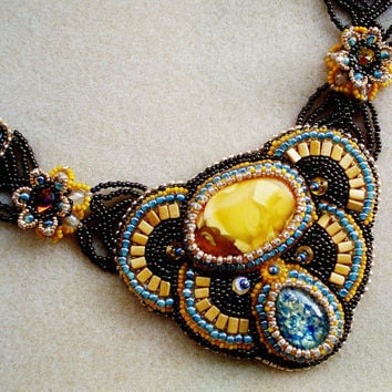 Embroidered Amber, Murano glass Cabochon and Rivoli Swarovski Necklace. Oriental style Multicolored Luxurious Amber Necklace.