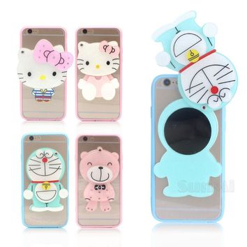 Mirror Soft Silicone Phone Case for Apple iPhone 8 Plus Case Cartoon Cute Bear Hello Kitty Doraemon Back Cover Shell 5.5 inch