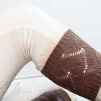 Women's Boot Cuffs: Lacy Boot Cuffs, Knitted Boot Cuffs, Boot Socks, Women's Boot Cuffs, Open Knit, Ivory, Gray, Mocha, Lace Boot Cuffs