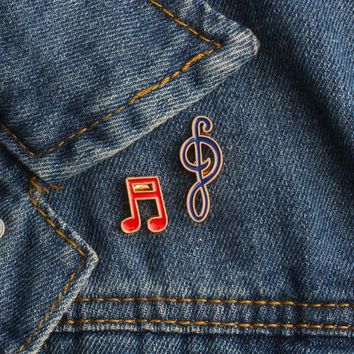 Trendy 2Pcs/set Fashion Music Musical Note Brooch Pin Badge for Musician Kids Women Pins Button Pin Denim Jacket Clothing Jewelry Gifts AT_94_13