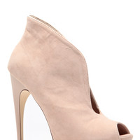 Nude Revealed Peep Toe Heels