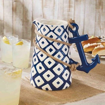 Blue Ceramic Anchor Pitcher by Mud Pie