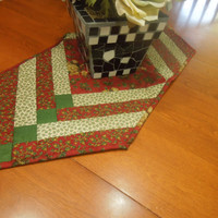 Vintage Christmas or Holiday Red and Green quilted table runner for holiday, housewares, home decor by MarlenesAttic