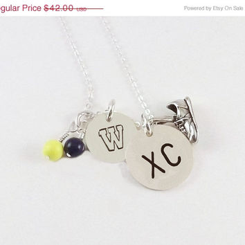 On Sale Hand Stamped Sterling Silver Cross Country Necklace with Sterling Silver Running Shoe Charm and Swarovski Pearl Dangles in School Co