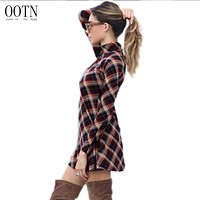 OOTN Women Long Sleeve Plaid Flannel Dresses Female Turtleneck A line Robe Vintage Dress Cotton Autumn Winter Vintage Elastic