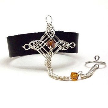 Black Leather Cuff Chainmail Slave Bracelet Ring Celtic North Star