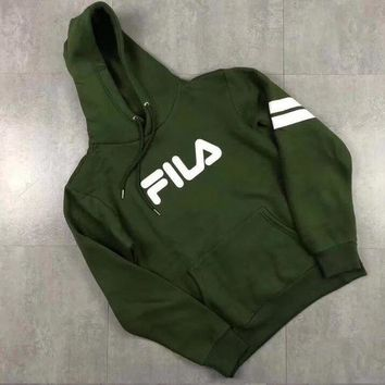 Gotopfashion FILA Fashion Men Women Hoodie Print Loose Long Sleeve Thick Sweater Top Army Green