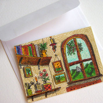 ACEO drawing of cosy house window view, original ACEO card of the inside of a cottage house corner