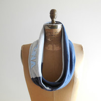 The University of North Carolina T Shirt Scarf / Blue / White / Gray / Tar Heels / Basketball / Cotton / Soft / Fun / For Her / ohzie