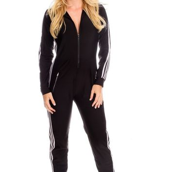 BLACK WHITE TRIM ACCENT ROUND NECKLINE FRONT ZIPPER JUMPSUIT