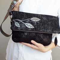 Black leather crossbody bag. Foldover cross body bag. Black / silver suede purse.