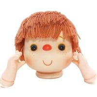 Vintage Large Plastic Doll Head and Hands, Red Yarn Hair, Doll Kits Crafts, Mixed Media, Altered Art, Mitzy, Dumplin, Angie, Freckles, 1980s