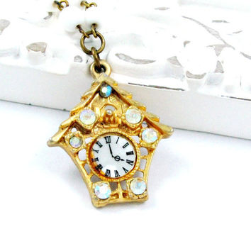 Vintage Birdhouse Necklace Clock Necklace Rhinestone Charm White Beaded Chain Mint Green Gold - Sparkle of Time