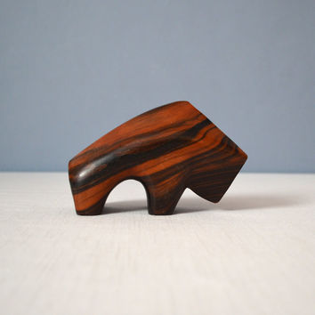 Vintage Modernist Carved Rosewood Bull Sculpture