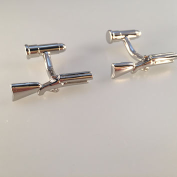 Shotgun Cufflinks, Revolver Cufflinks, Bullet Cufflinks, Men's Cuff Links, Wedding Cuff Links, Father's Day, Graduation Gift