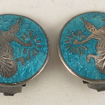 Sterling Siam Earrings Turquoise Blue Enamel 1960s Hindu Mythology Mekala Lightning Goddess Clip Unique Jewelry Collectible Collector Gift