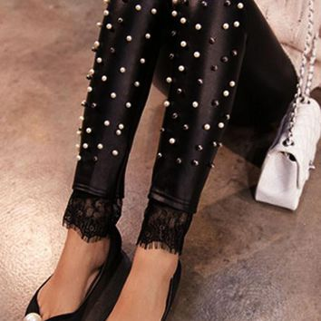 Black Patchwork Lace Elastic Waist Streetwear PU Leather Long Legging