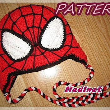 Crochet hat pattern, Spiderman crochet hat PATTERN, crochet boy hat, superhero crochet hat, red, spider pdf