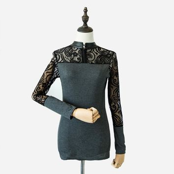 Autumn and Winter T shirt Women Sexy Floral Lace Knitting Night Club Tops roupas femininas