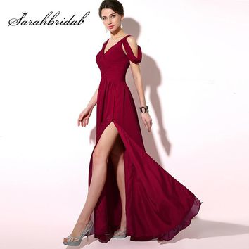 2018 Simple Pleat Burgundy Prom Dresses Cheap Long Chiffon A-Line Cap Sleeve Lace Up Back Sexy Slit Evening Party Gowns SD186