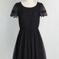 Mid-length Short Sleeves A-line One of a Kindhearted Dress in Black