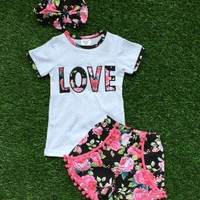 new arrival baby girls summer outfits girls LOVE clothes kids boutique clothing girls seersucker shorts with matching headband
