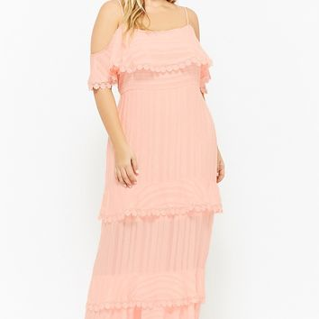 Plus Size Dark Pink Flounce Maxi Dress